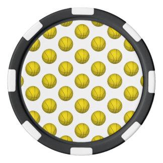 Modelo amarillo del baloncesto fichas de póquer