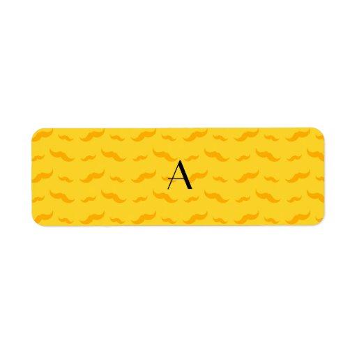 Modelo amarillo del bigote del monograma etiquetas de remite