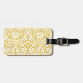 Modelo amarillo del damasco etiquetas bolsas