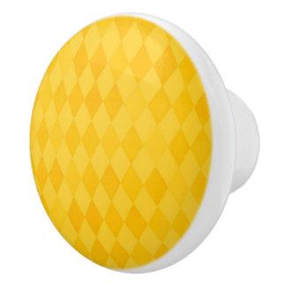 Modelo amarillo del diamante pomo de cerámica