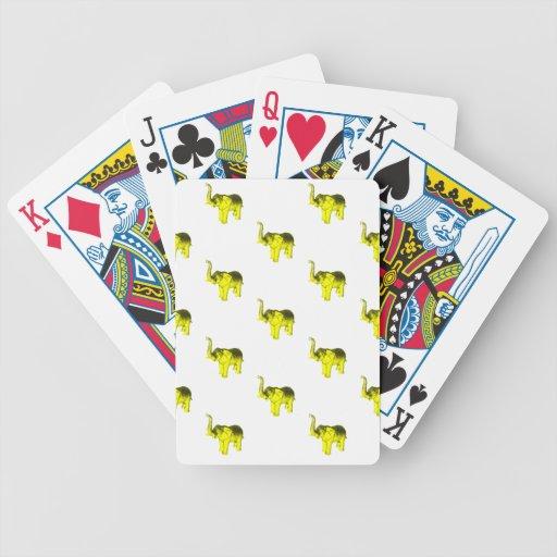 Modelo amarillo del elefante baraja cartas de poker