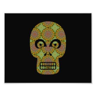 Modelo amarillo del fractal del cráneo impresiones fotográficas