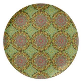 Modelo amarillo del fractal platos de comidas