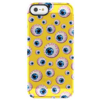 Modelo amarillo del globo del ojo funda clearly™ deflector para iPhone 5 de uncommon