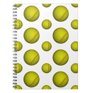 Modelo amarillo del softball/del béisbol libros de apuntes con espiral