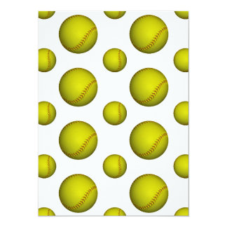 """Modelo amarillo del softball/del béisbol invitación 5.5"""" x 7.5"""""""