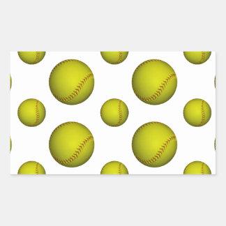 Modelo amarillo del softball/del béisbol pegatina rectangular