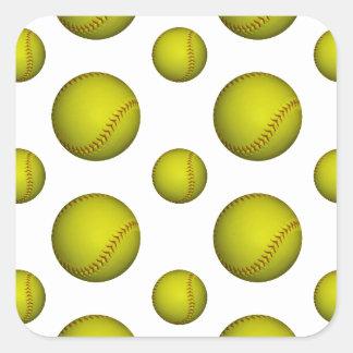 Modelo amarillo del softball/del béisbol pegatina cuadrada