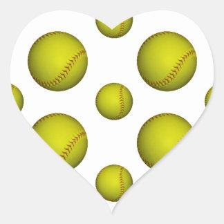 Modelo amarillo del softball/del béisbol pegatina en forma de corazón
