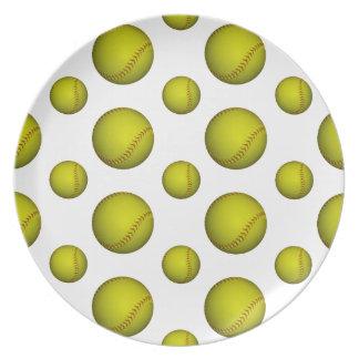 Modelo amarillo del softball/del béisbol plato de cena