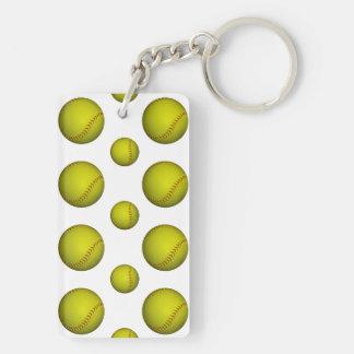 Modelo amarillo del softball llavero rectangular acrílico a doble cara