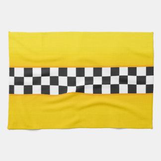 Modelo amarillo del tablero de damas toallas de cocina