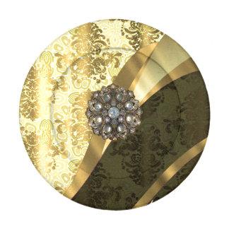 Modelo amarillo elegante bonito del damasco del