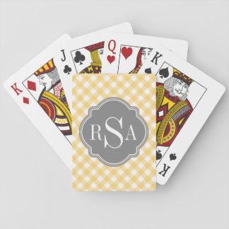 Modelo amarillo gris de la guinga del monograma baraja de póquer