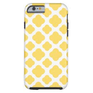 Modelo amarillo limón y blanco de Quatrefoil Funda De iPhone 6 Tough