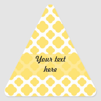 Modelo amarillo limón y blanco de Quatrefoil Pegatina Triangular