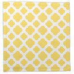 Modelo amarillo limón y blanco de Quatrefoil Servilleta De Papel