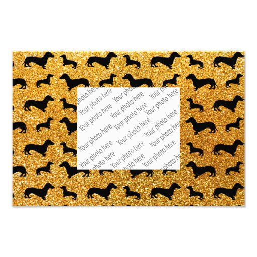 Modelo amarillo lindo del brillo del dachshund impresión fotográfica
