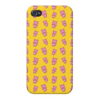 Modelo amarillo lindo del cerdo iPhone 4/4S carcasas