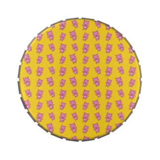 Modelo amarillo lindo del cerdo jarrones de dulces