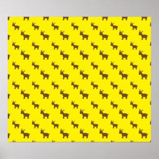 Modelo amarillo lindo del reno impresiones