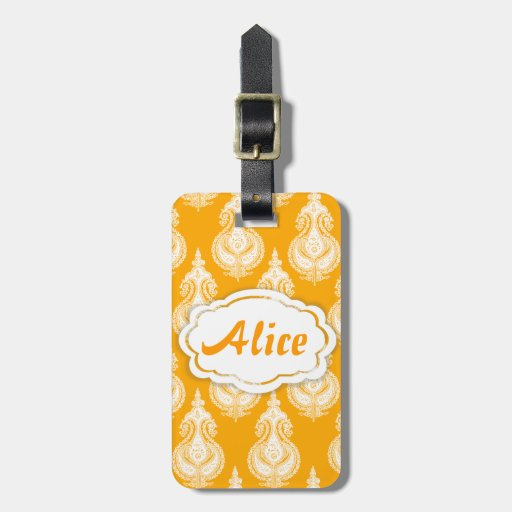 Modelo amarillo-naranja de Paisley Etiquetas Maleta
