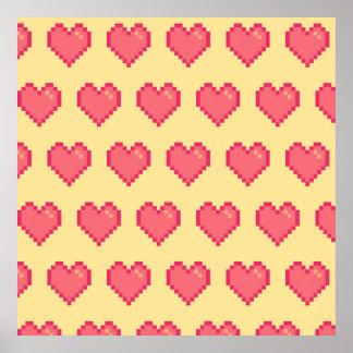 Modelo amarillo rojo del corazón del pixel póster