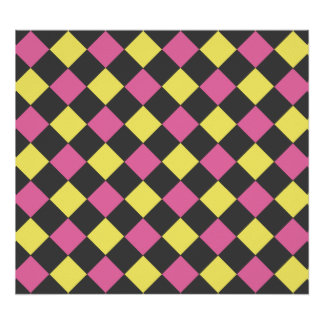 Modelo amarillo rosado del argyle en negro posters