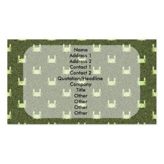 Modelo amarillo verde del cangrejo tarjetas de visita