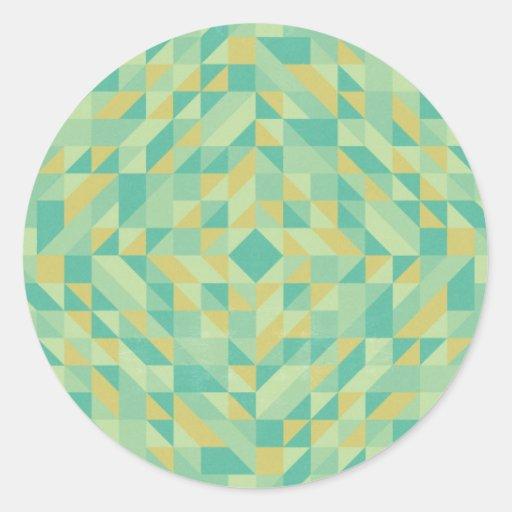 Modelo amarillo verde del triángulo etiqueta redonda