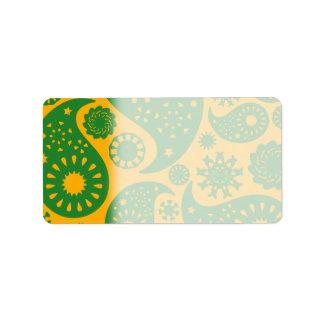 Modelo amarillo verde y ambarino de Paisley Etiqueta De Dirección