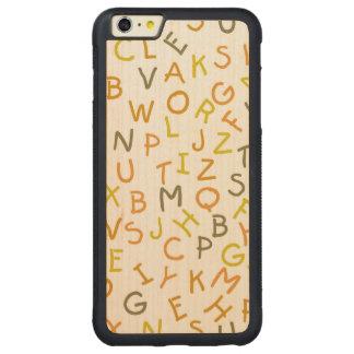 Modelo amarillo y anaranjado del alfabeto funda de arce bumper carved® para iPhone 6 plus
