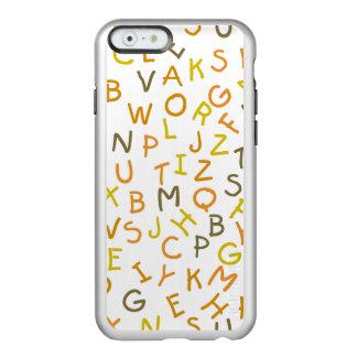 Modelo amarillo y anaranjado del alfabeto funda para iPhone 6 plus incipio feather shine