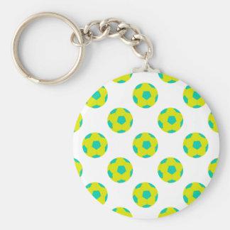 Modelo amarillo y azul claro del balón de fútbol llavero personalizado