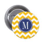 Modelo amarillo y azul de Chevron con el monograma Pins