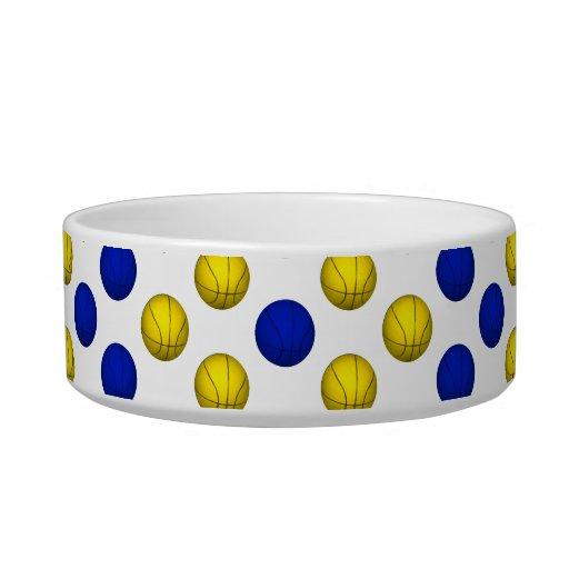 Modelo amarillo y azul del baloncesto tazones para agua para gatos