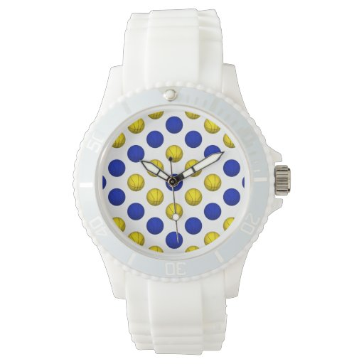Modelo amarillo y azul del baloncesto relojes de pulsera