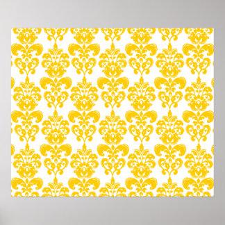 Modelo amarillo y blanco 2 del damasco del vintage impresiones
