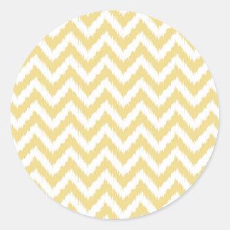 Modelo amarillo y blanco de Ikat Chevron Etiqueta Redonda