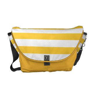 Modelo amarillo y blanco de la mostaza de la raya bolsas messenger