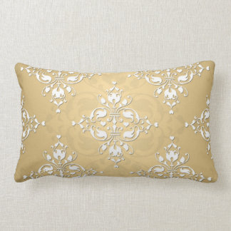 Modelo amarillo y blanco de oro del damasco cojín lumbar