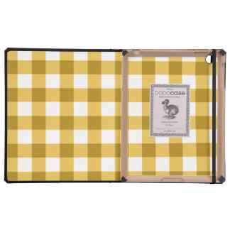 Modelo amarillo y blanco del control de la guinga iPad protectores