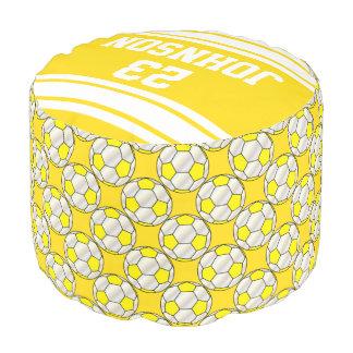Modelo amarillo y blanco del fútbol del deporte puf redondo