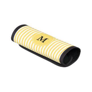 Modelo amarillo y blanco del monograma de las funda para asa de maleta