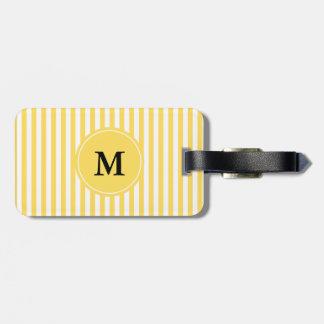 Modelo amarillo y blanco del monograma de las raya etiquetas de equipaje