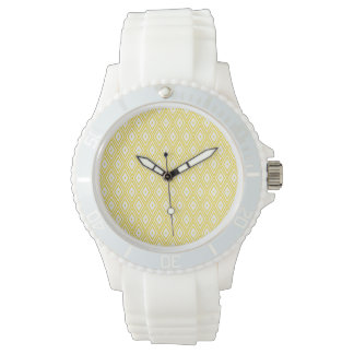 Modelo amarillo y blanco poner crema del diamante reloj