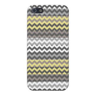Modelo amarillo y gris de la raya del zigzag de Ch iPhone 5 Carcasa