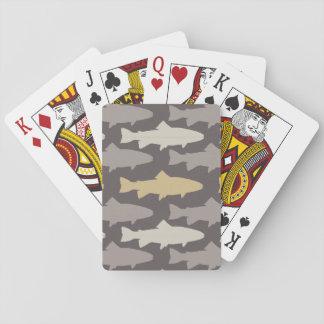 Modelo amarillo y gris de los pescados de la baraja de póquer