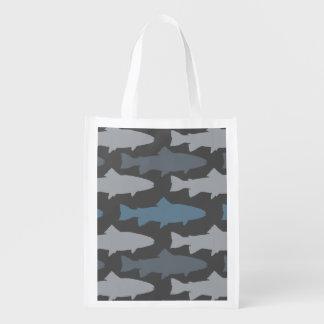 Modelo amarillo y gris de los pescados de la bolsa para la compra