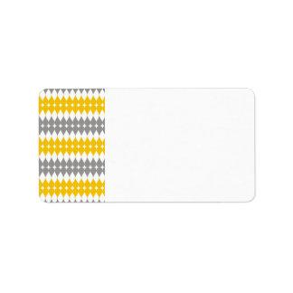 Modelo amarillo y gris del descenso del rasgón etiqueta de dirección